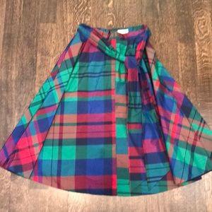 Bright plaid below-the-knee skirt